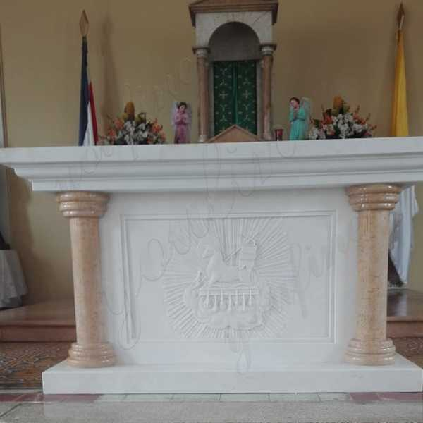 Hand Carved White Marble Altar for Church Decoration Customized for Our Costa Rica Client