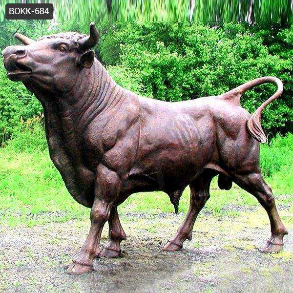 Hand Made Strong Outdoor Large Copper Bull Statue for Sale BOKK-684