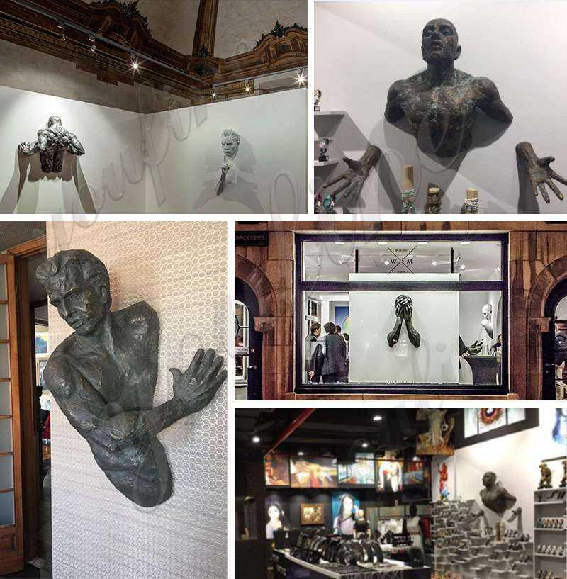 Hanging Modern Matteo Pugliese Bronze Man Sculpture for Sale