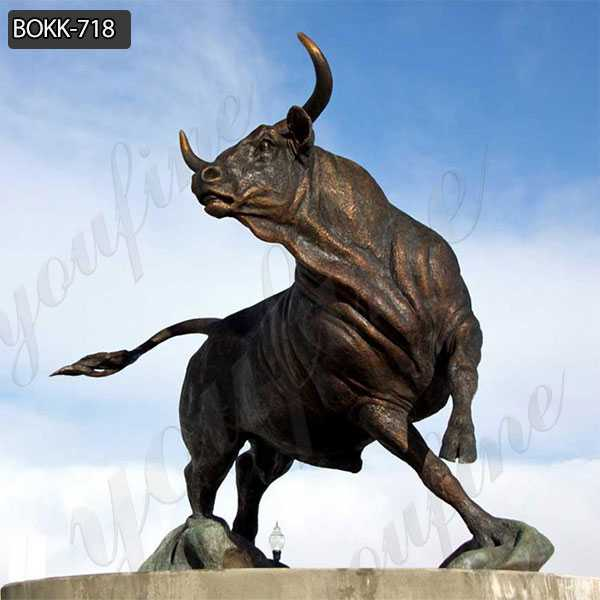 Large Outdoor Casting Bronze Wildlife Bull Statue Animal Sculpture Decoration for Sale BOKK-718
