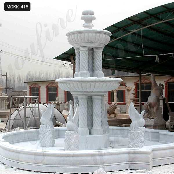 Large Outdoor Marble Fountains Hand Carved with Columns and Animal Statue