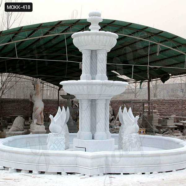 Large Outdoor Marble Fountains Hand Carved with Columns and Animal Statues for Sale MOKK-418