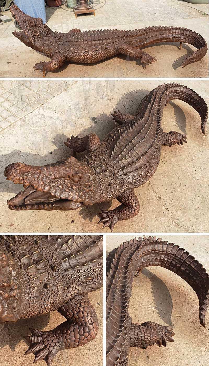 Life Size Bronze Garden Alligator Statue for sale