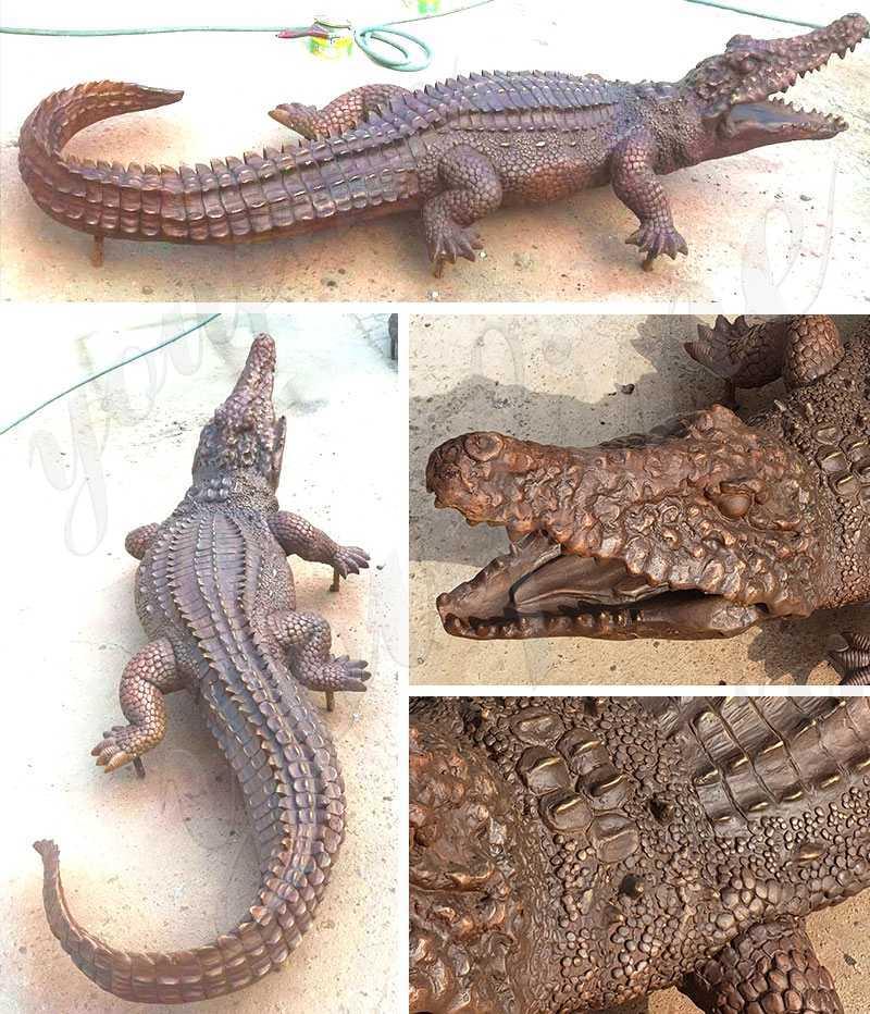 Life Size Bronze Garden Alligator Statue on sale