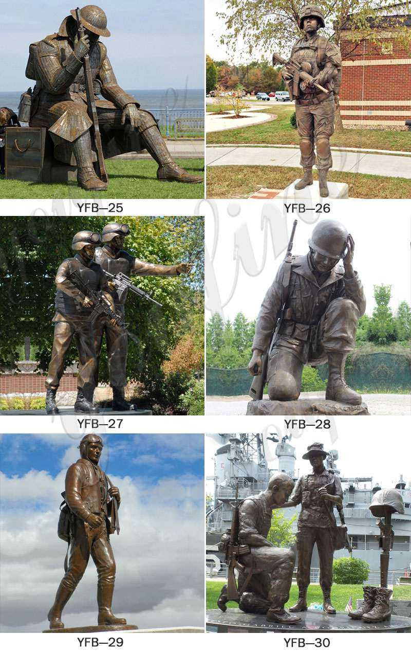 Life Size Casting Bronze Solider Statue
