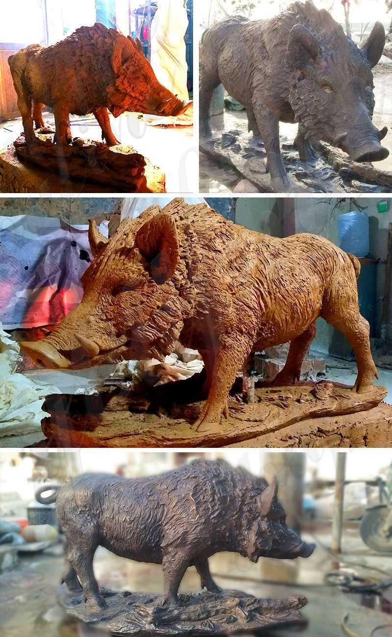 Life Size Fantastic Garden Decoration Bronze Wild Boar Statue for Sale