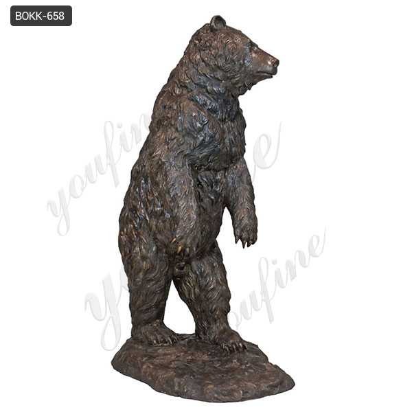 Life Size Wild Casting Bronze Standing Bear Statue for Sale BOKK-658