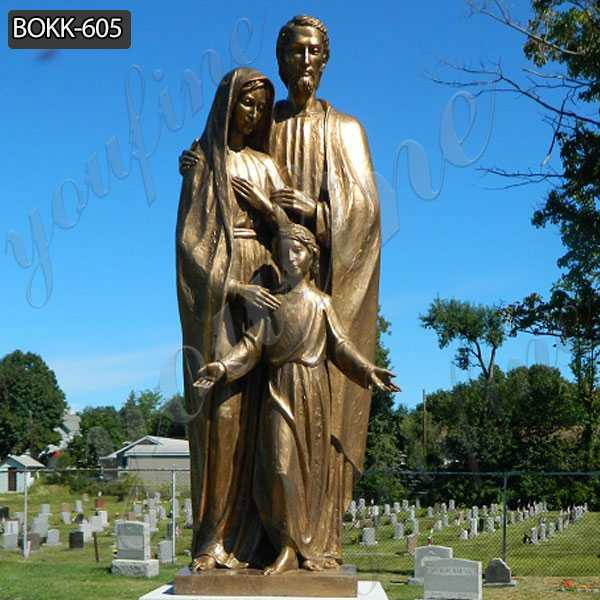 Mary Joseph and Jesus Bronze Statue
