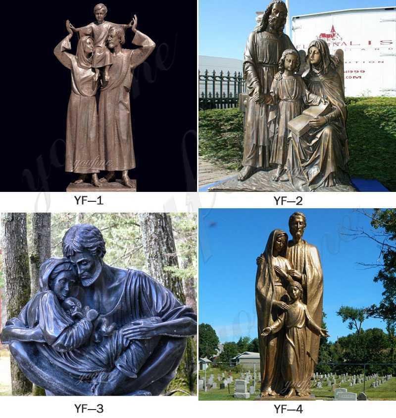 Mary Joseph and Jesus Bronze Statue for sale