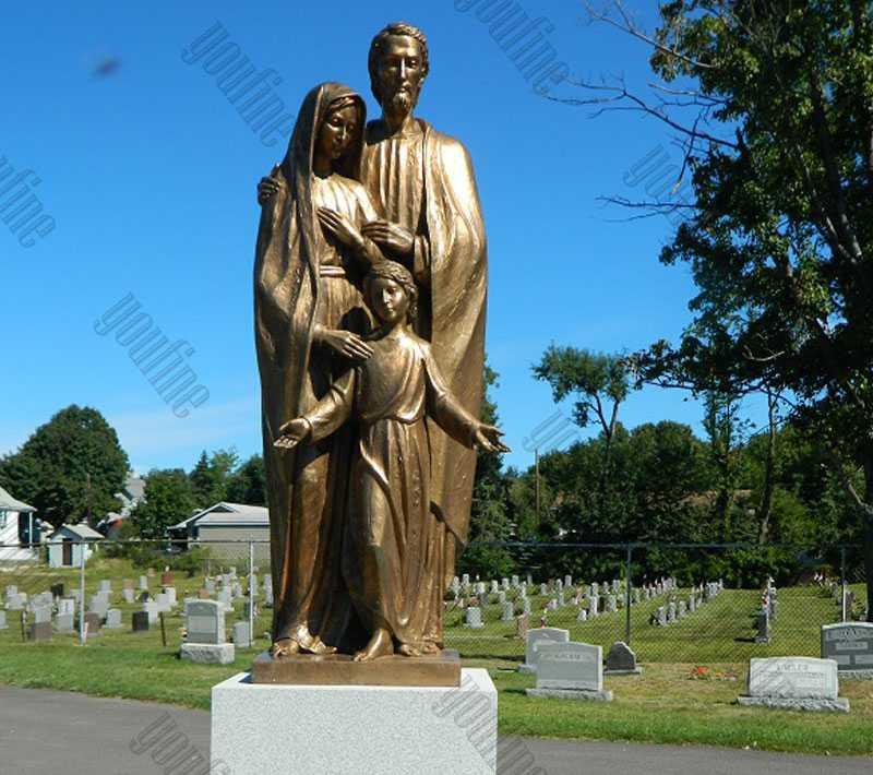 Mary Joseph and Jesus Bronze Statue on sale