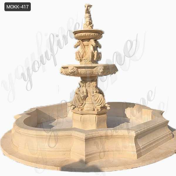 Hand Carved with Statuary and Animal Natural Beige Stone Large Outdoor Fountain for Sale MOKK-417