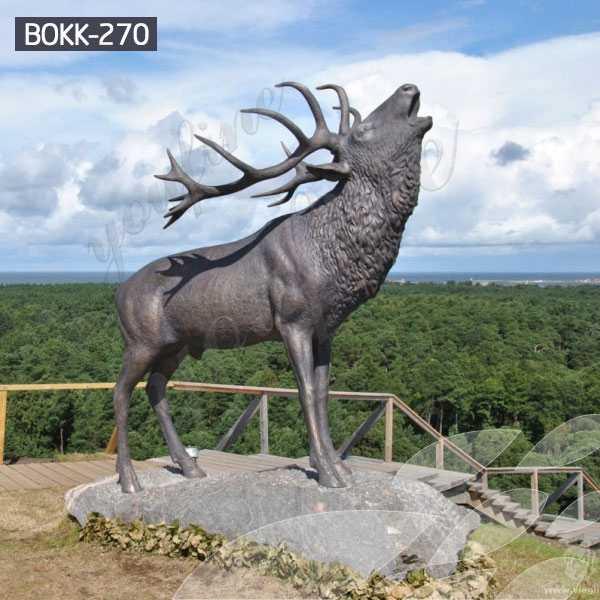 Outdoor Bronze Standing Reindeer Statue
