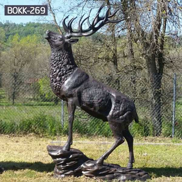 Life Size Outdoor Bronze Standing Reindeer Statue Garden Decoration for Sale BOKK-269