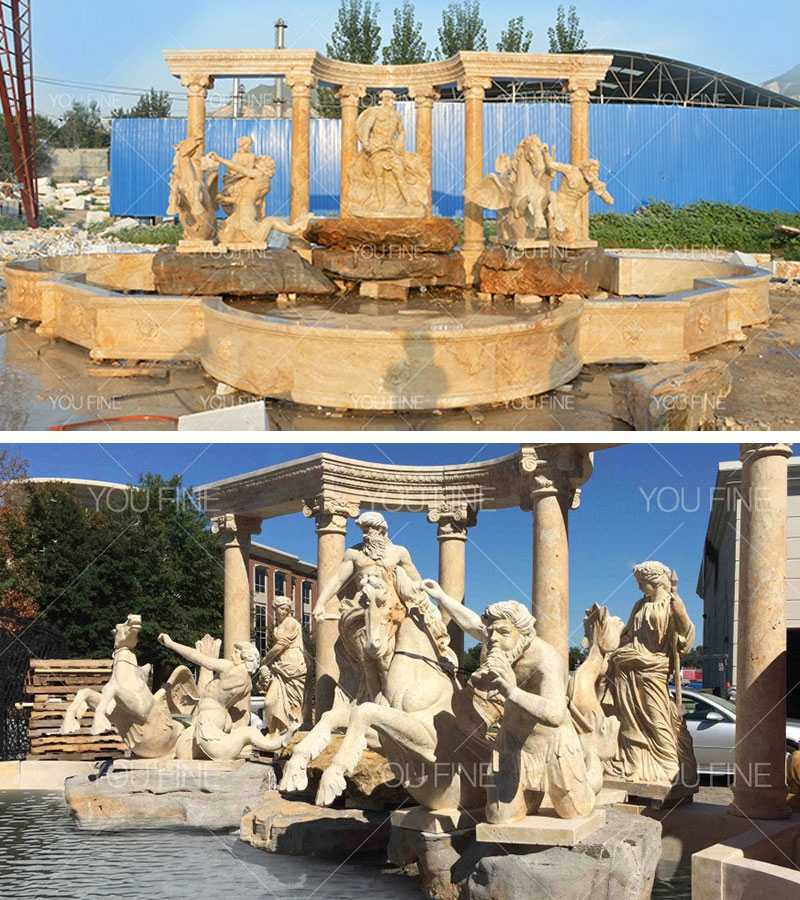 Outdoor Luxury Water Fountain with Roman Horse and Figure Statues