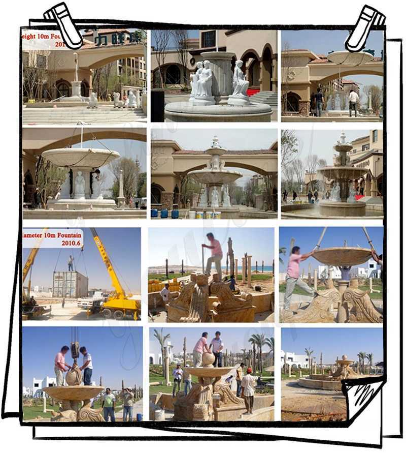 Process of Natural Beige Stone Large Outdoor Fountain