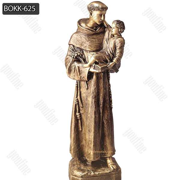 Cast Bronze Saint St Anthony with Baby Jesus Statue Religious Sculpture for Sale BOKK-625