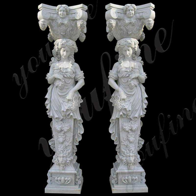 White Marble Front Pillars for House Carved Figures Statue