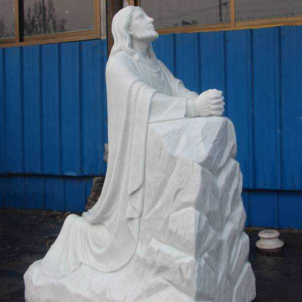 White Marble Kneeling in Prayer Jesus Statue Custom Made for Our Client