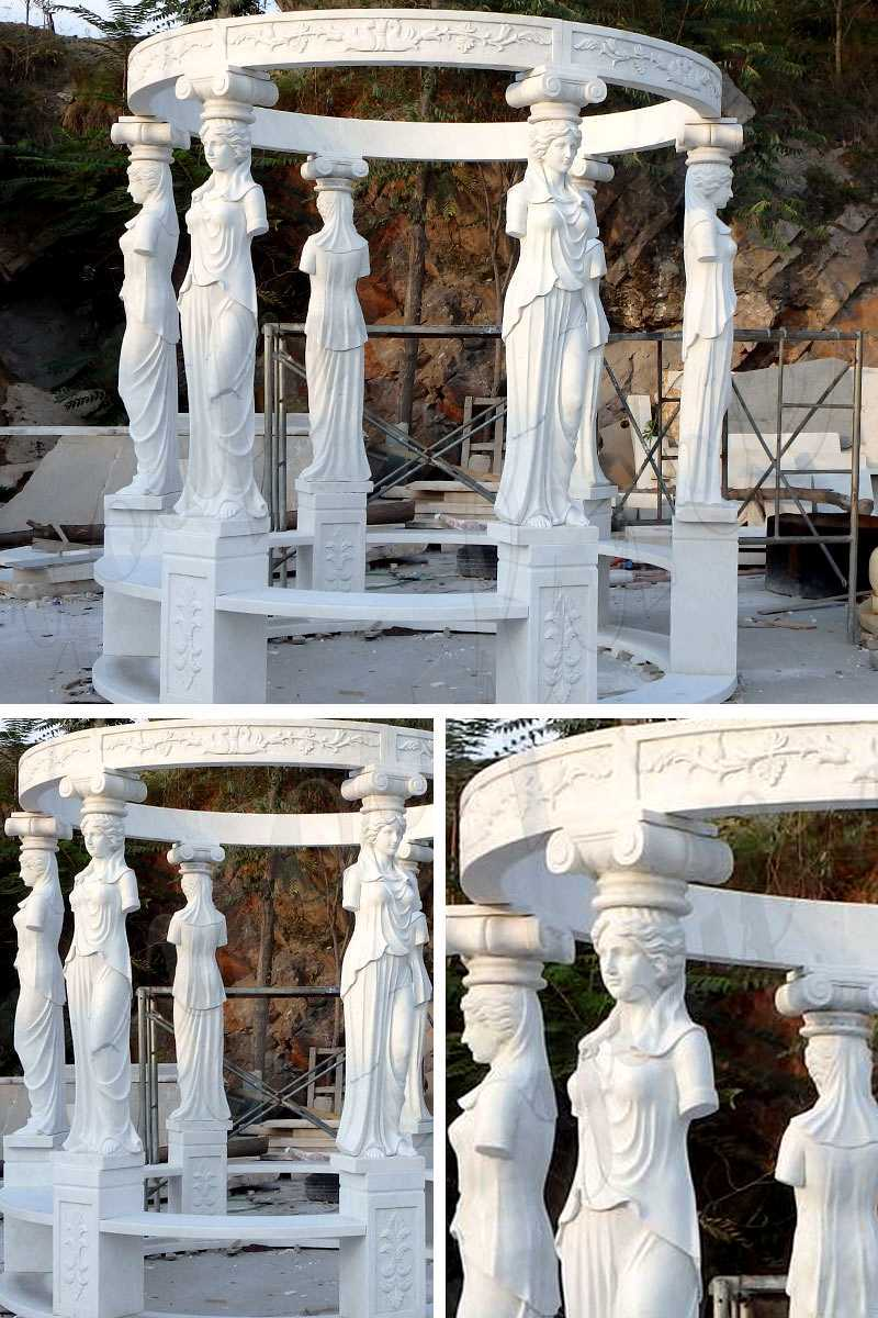 White Marble Lady Figure Gazebo for sale