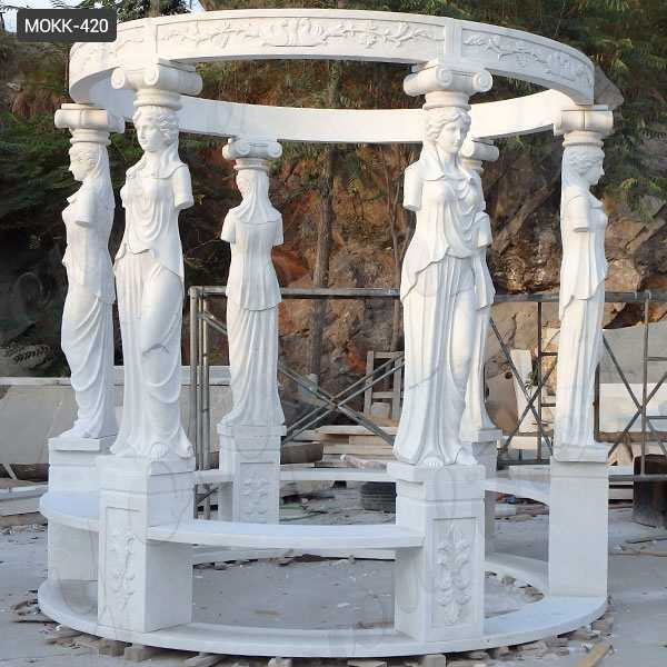 Outdoor Garden Hand Carved White Marble Lady Figure Gazebo Decoration for Sale MOKK-420