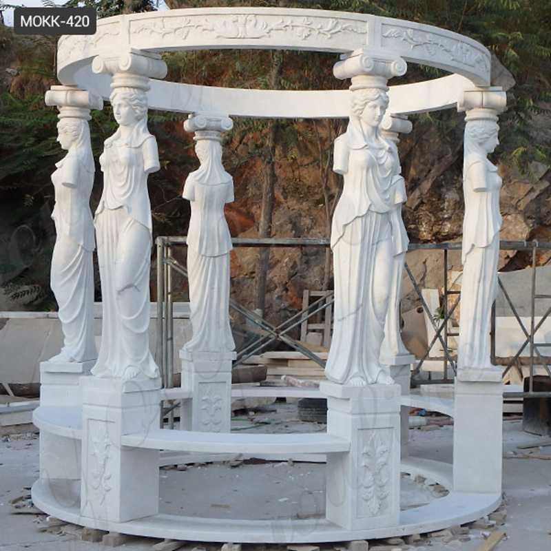 White Marble Lady Figure Gazebos