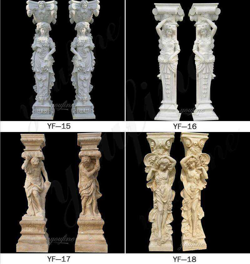 White Marble Mother and Child Stone Columns for Sale