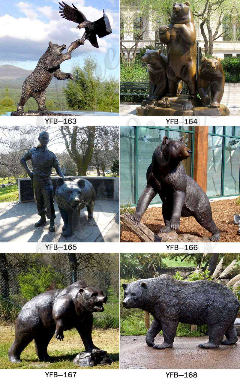 Wild Casting Bronze Standing Bear Statues