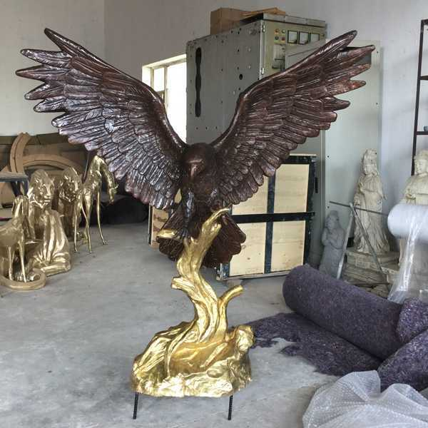 Life Size Bronze Eagle Statue Outdoor Decoration Design for Our Mongolian Client