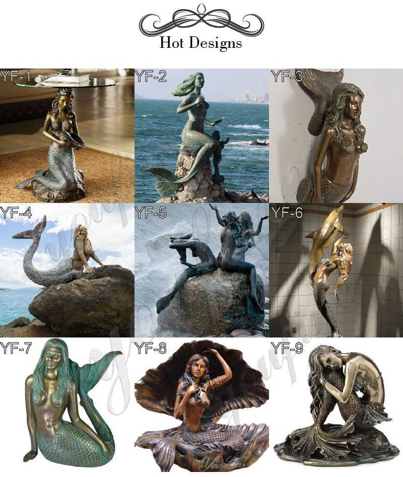 bronze mermaid statue-02