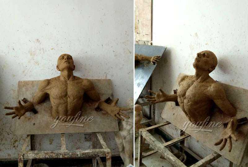 clay mold of Matteo Pugliese Bronze Man Sculpture