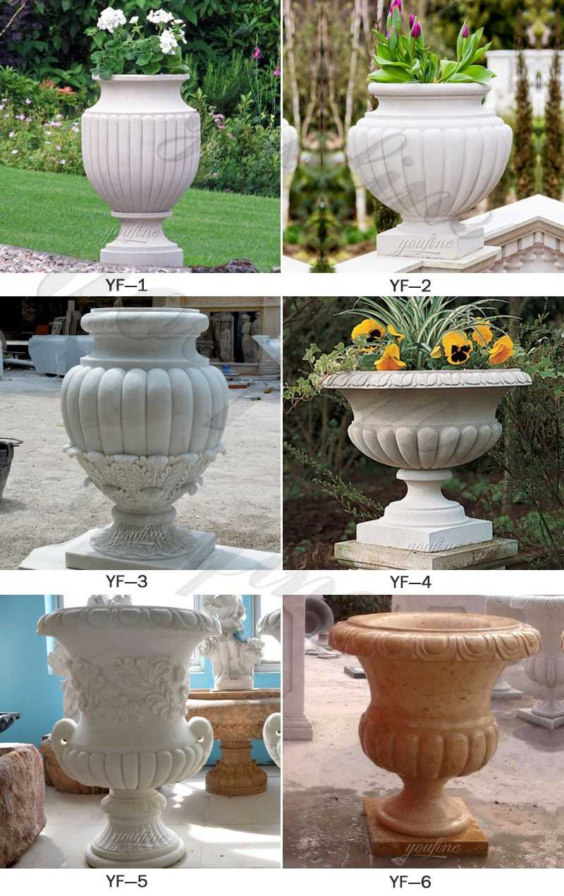 factory supply life size easy designs outdoor white marble garden flower pots with round deep basin for sale on discount