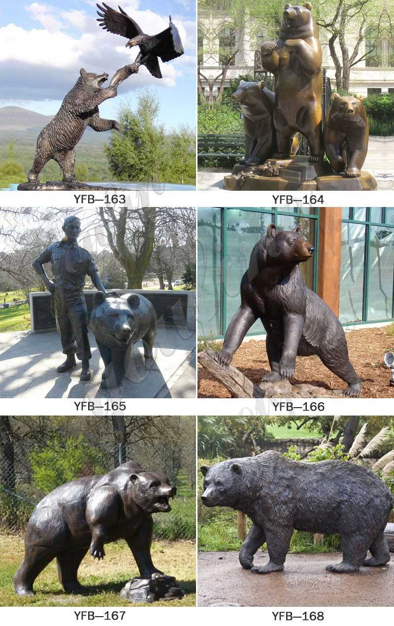 life size Casting Bronze Grizzly Bear Statue