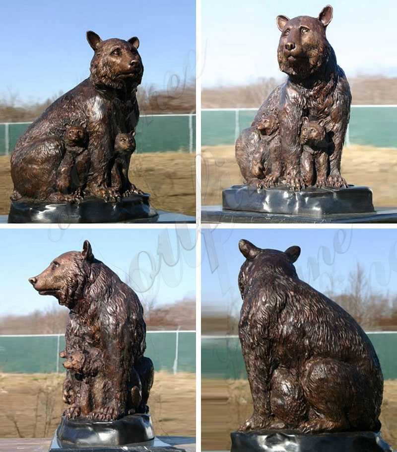 life size Casting Bronze Grizzly Bear Statues