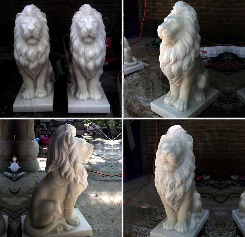 Marble Guardian Lion Statues Garden Ornament Animals