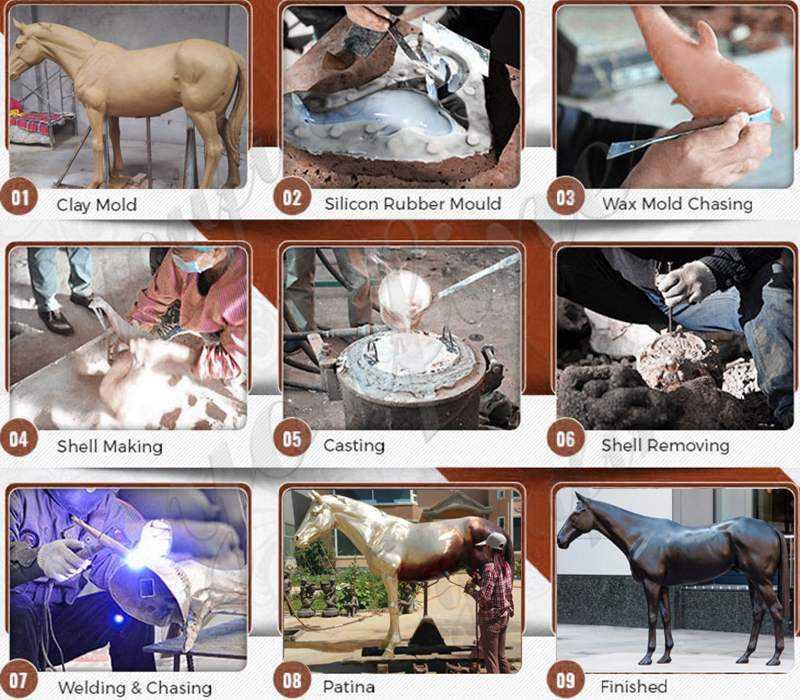 process of Cast Animal Bronze Wild Bear Statue