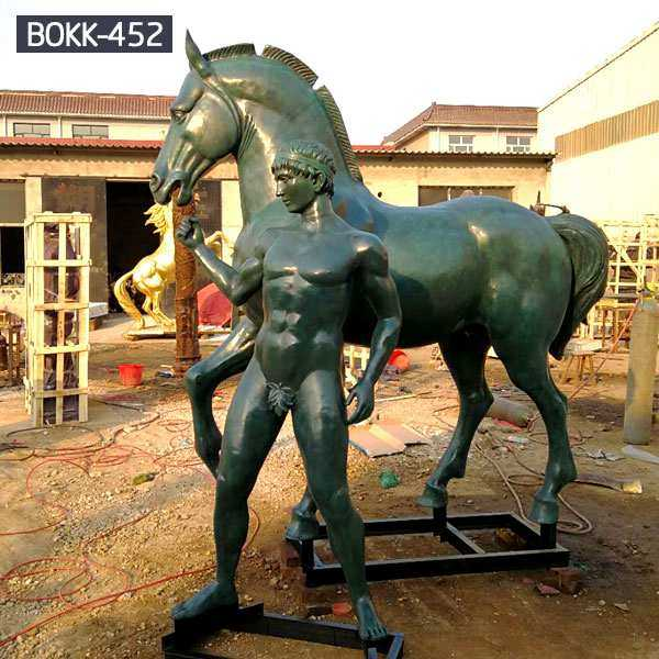 Antique Bronze Horse Statue with Man Statue for Sale