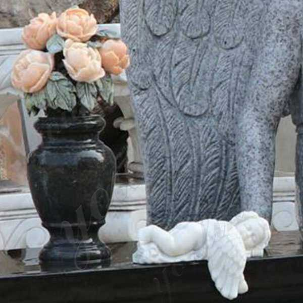 Black Granite Headstone with Wepping Angel Statue MOKK-111