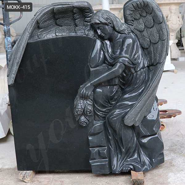 Black Granite Memorials Headstone Carving Wepping Angel Statue MOKK-415