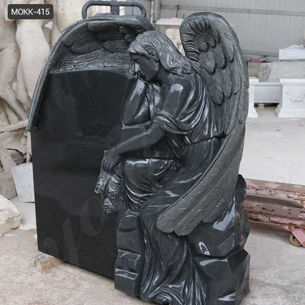 Black Granite Memorials Headstone Carving Wepping Angel Statue