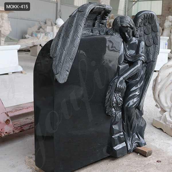 Black Granite Memorials Headstone Carving Wepping Angel StatueS MOKK-415