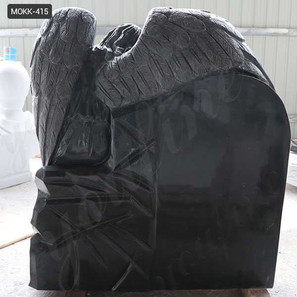 Black Granite Memorials Headstone Carving Wepping Angel StatueS