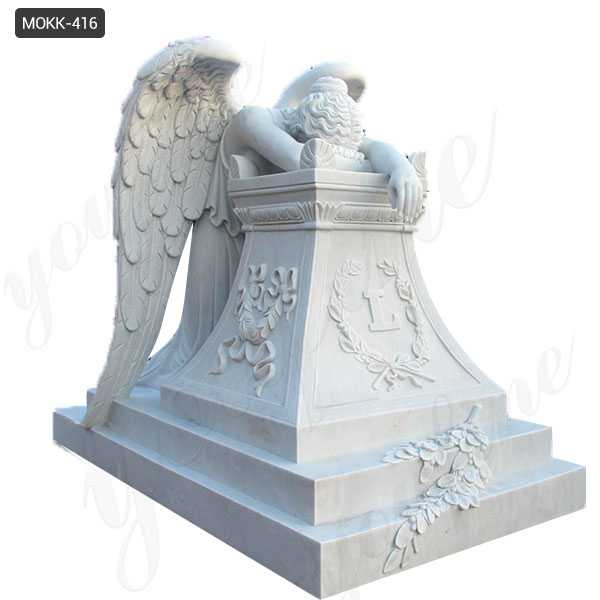 Buy White Marble Monument with Weeping Angel Statue for Cemetery MOKK-416