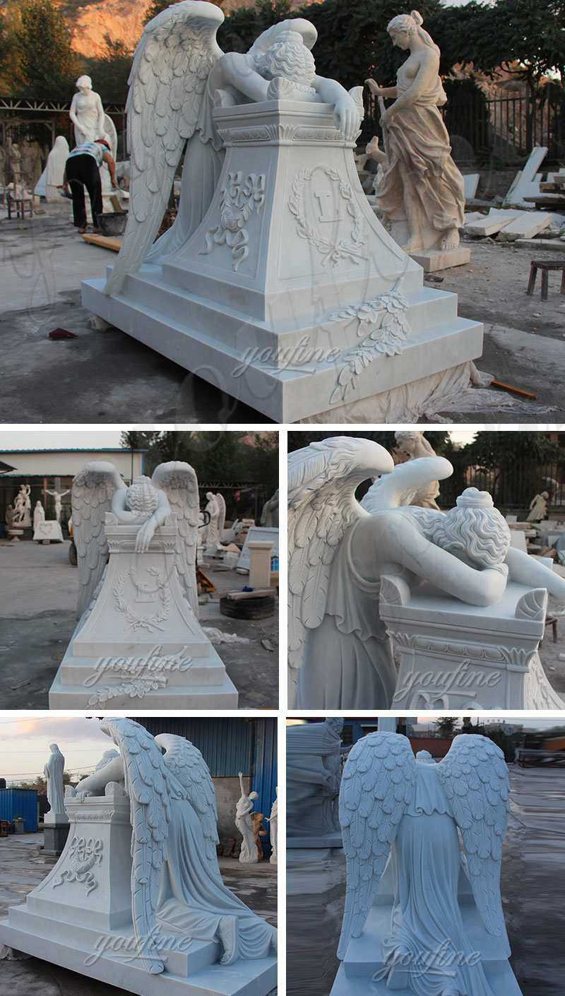 Buy White Monument with Weeping Angel Statue for Cemetery