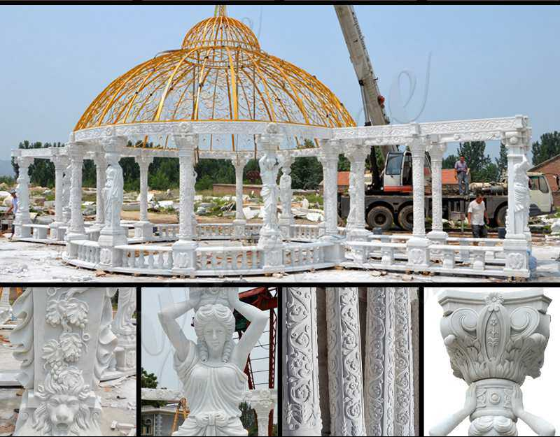 Classic Large Outdoor Roman Stone Gazebo with Columns Manufacturer