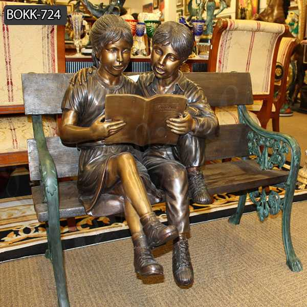 Custom Made Kids Reading A book on Beach Bronze Statue BOKK-724