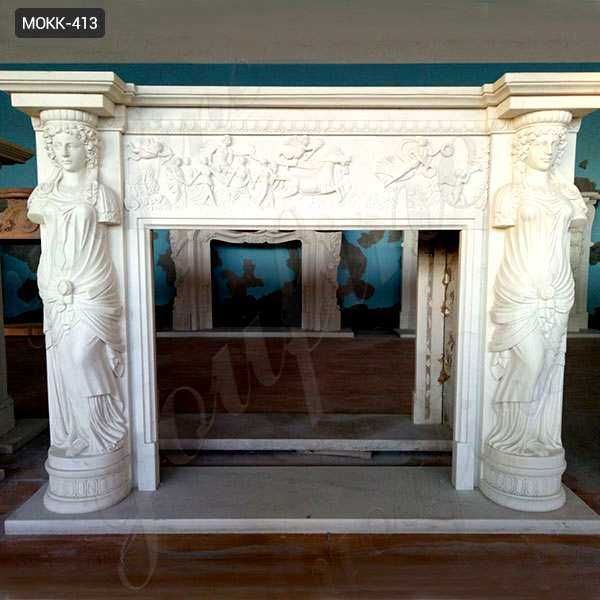 Exquisite Hand Carved Modern Statury Marble Fireplace Mantel MOKK-413