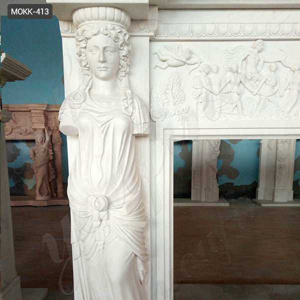 Exquisite Hand Carved Modern Statury Marble Fireplace Mantel