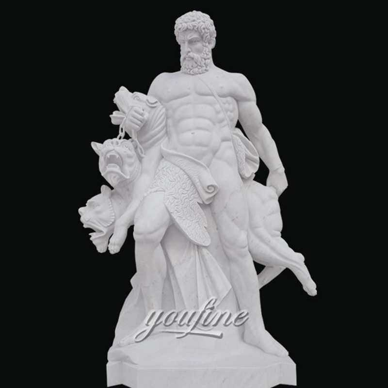 Famous art sculptures life size white marble hercules sculpture for sale