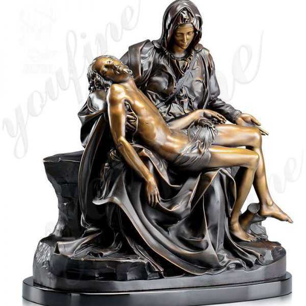 Famous michelangelo pieta statue of mary holding jesus bronze religious garden statue for sale