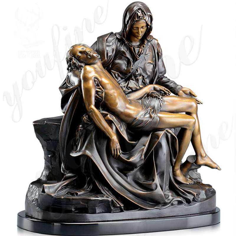 Famous michelangelo pieta statue of mary holding jesus bronze religious garden statues for sale